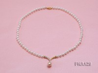 6mm White Round Cultured Freshwater Pearl Necklace with a Pink Pearl Pendant