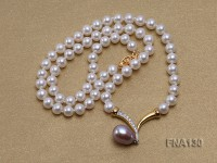 6mm White Round Cultured Freshwater Pearl Necklace with a Lavender Pearl Pendant