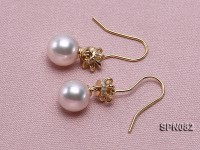9mm AAA top quality akoya pearl earrings in 18K gold