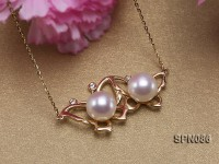 8mm AAA White Round Akoya Pearl Pendant in 14K Gold