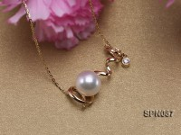 Selected 9mm White Round Natural Akoya Pearl Pendant Necklace with 14k Gold Chain