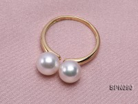 18k Yellow Gold Ring Set with Two 7.7mm Round White Akoya Pearls