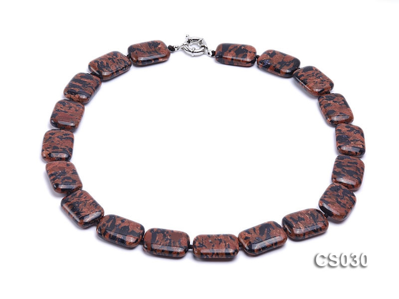 21x18mm Rectangular Goldstone Necklace