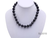 13mm Blue Round Faceted Sandstone Necklace