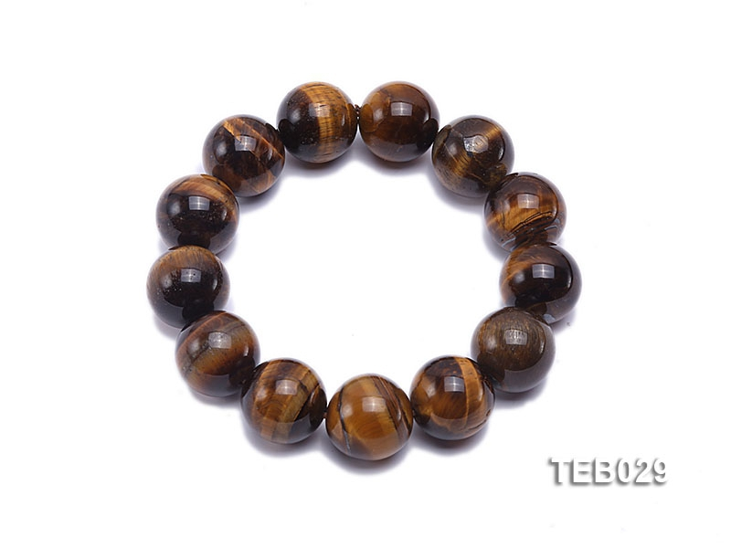 16mm Tiger Eye Beads Elasticated Bracelet
