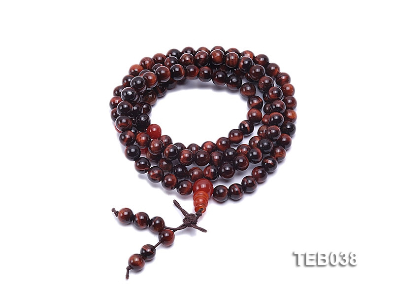 6.5mm Natural Tiger Eye Beads Elasticated Bracelet