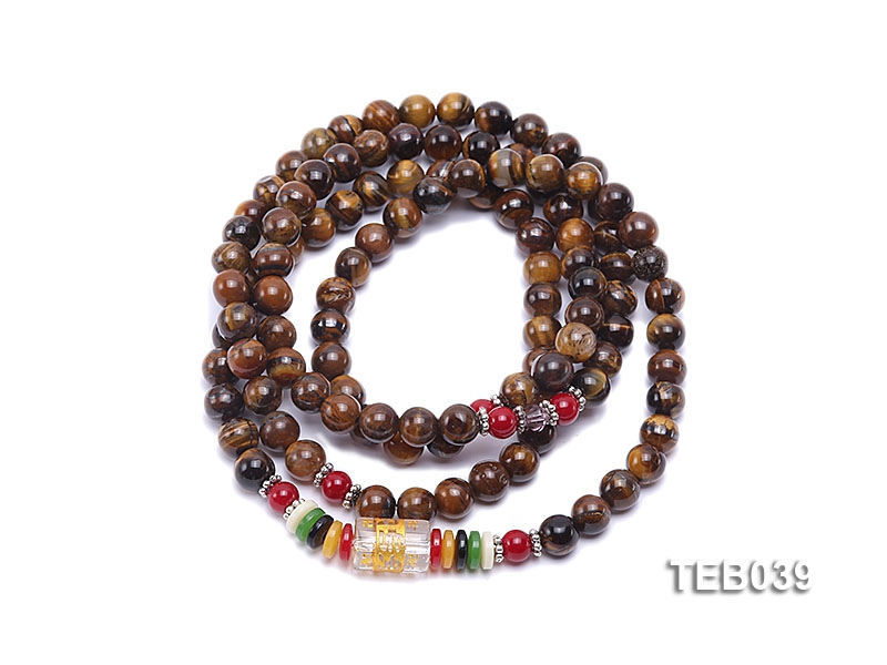6.5mm Natural Tiger Eye Beads Elasticated Bracelet