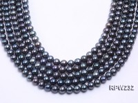 Wholesale 9-10mm Black Round Freshwater Pearl String