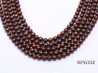 Wholesale 8.5-9mm Brown Round Freshwater Pearl String