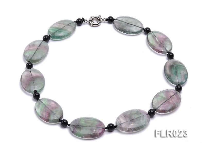 25x35mm Oval Fluorite Pieces and Round Black Agate Beads Necklace