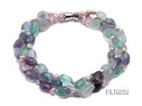 15x25mm Three-Strand Fluorite Beads Necklace