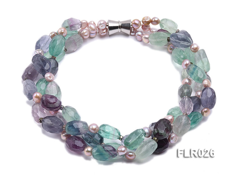 15x25mm Three-Strand Fluorite Beads Necklace