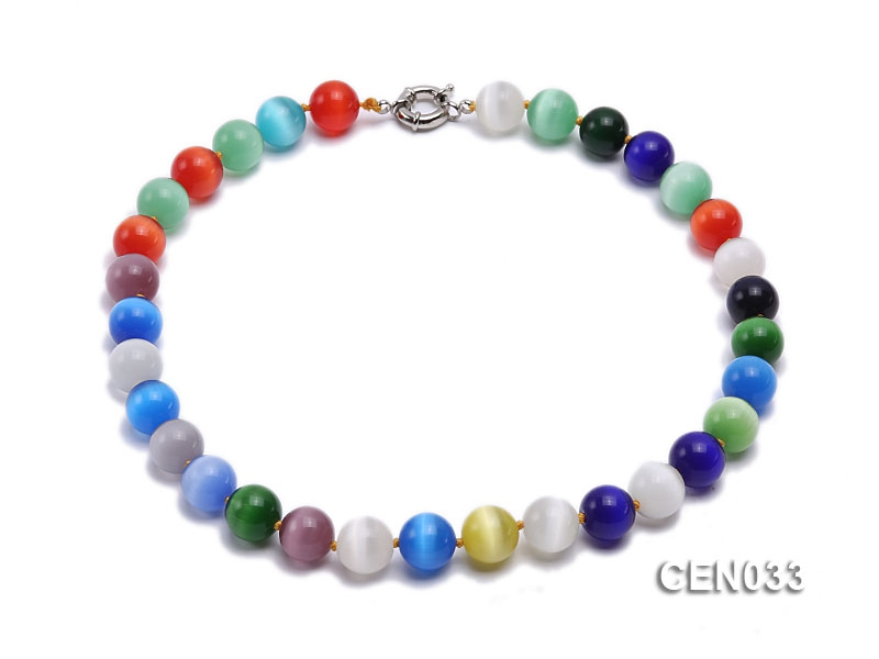 14mm Round Colorful Cat's Eye Beads Necklace