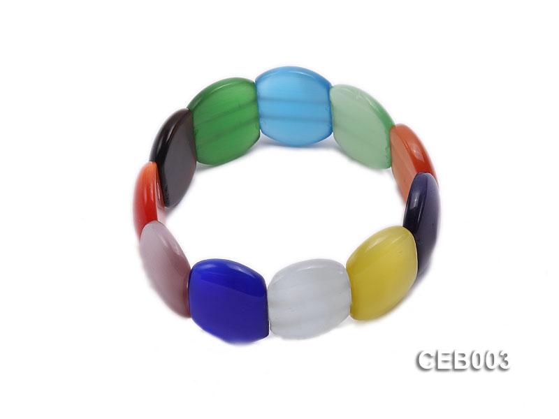 7x21mm Colorful Cat's Eye Beads Bracelet