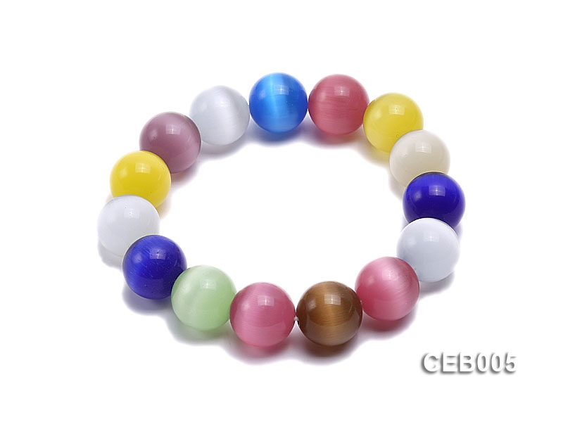 14mm Colorful Cat's Eye Beads Bracelet