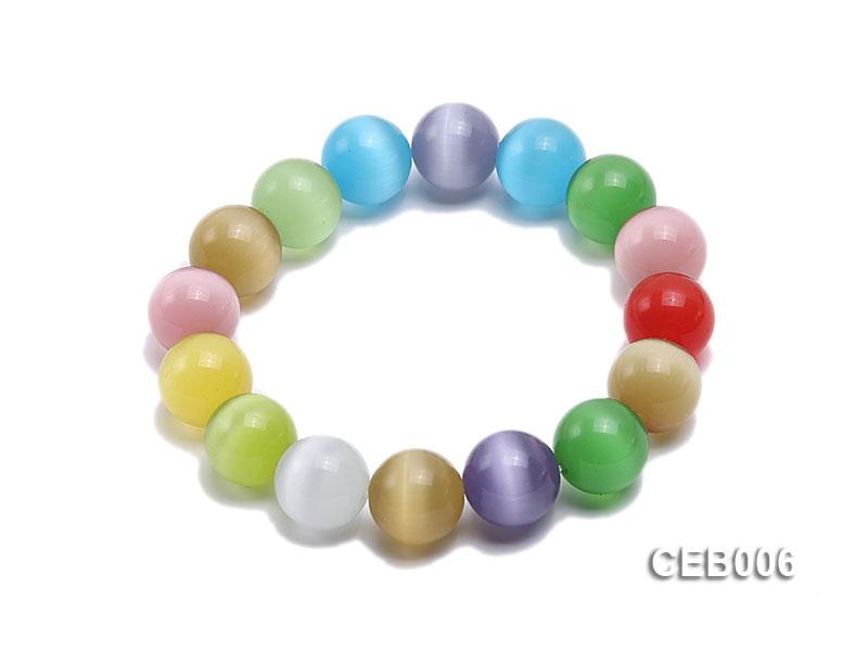 12mm Colorful Cat's Eye Beads Bracelet