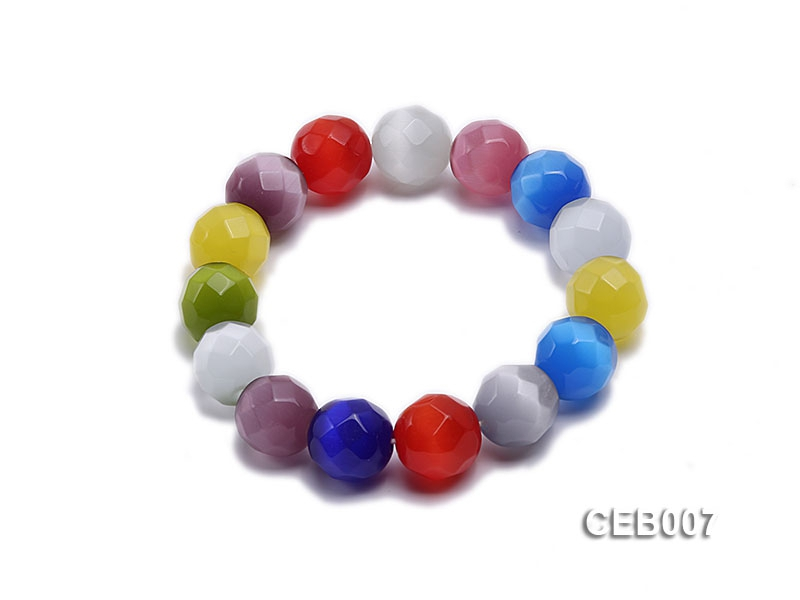 13.5mm Colorful Round Cat's Eye Bracelet