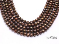 Wholesale 9.5-10mm Brown Round Freshwater Pearl String