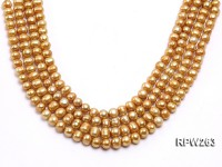 Wholesale 9-10mm Golden Near Round Freshwater Pearl String