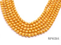 Wholesale 9.5-10.5mm Golden Near Round Freshwater Pearl String