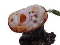 95x54x28mm Exquisitely Carved Natural Agate Hand Piece in Dragon Shape