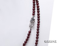 Natural 5mm Round Garnet Necklace