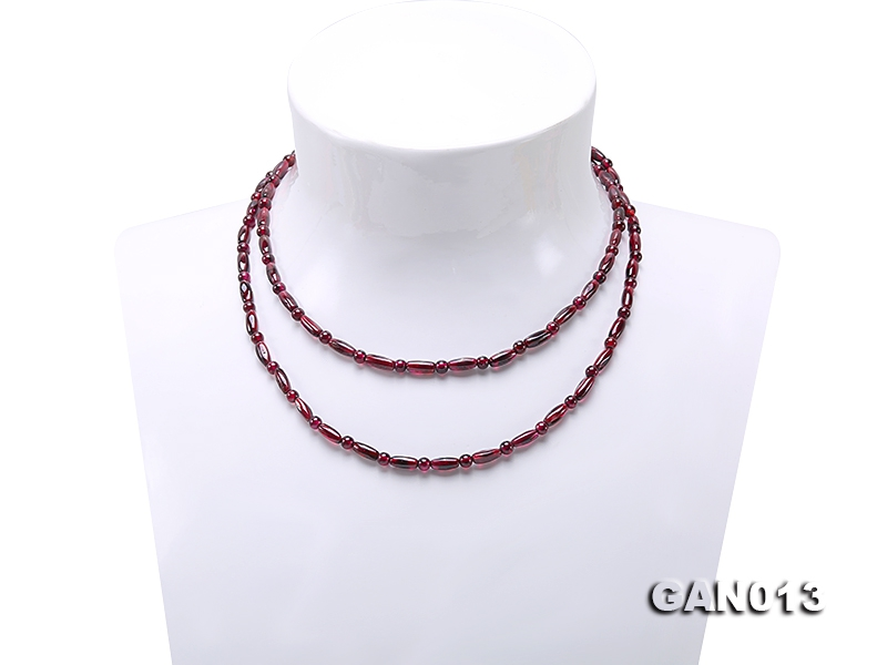 Natural 4mm-4x9mm Garnet Necklace