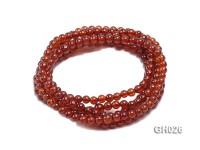 Natural 4mm Round Garnet Long Bracelet