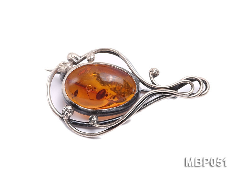 46x26mm Natural Amber Brooch