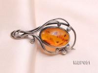 46x26mm Natural Amber Brooch