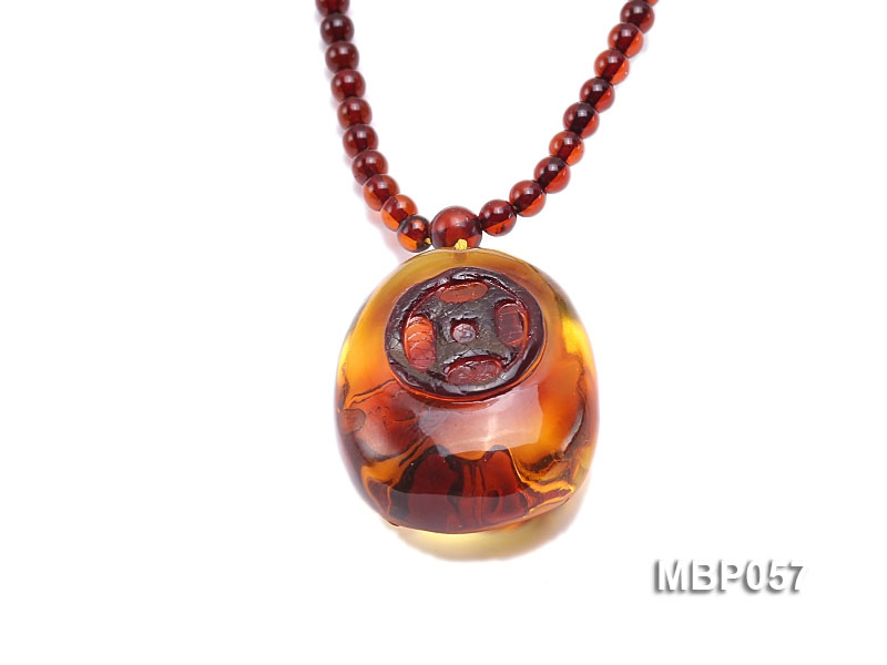 32x26mm Natural Red Amber Pendant