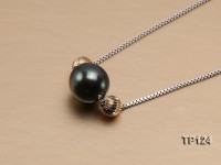 9.5mm Tahitian Pearl Pendant with Sterling Silver Chain