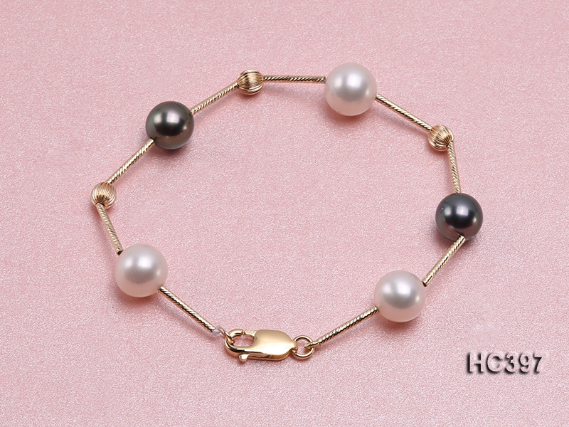 9-10mm Freshwater Pearl and Tahitian Pearl Bracelet with 14k Gold Chain