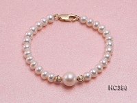 6-6.5mm Freshwater Pearl Bracelet with 14k Gold Accessories