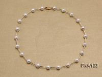 Selected 8-9mm Cultured Freshwater Pearl Necklace With Sterling Silver Chain