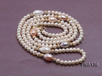 Charming Freshwater Pearl & Tahitian Pearl Necklace Dotted with 14 Gold Accessories