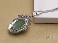 24X33mm Green Jade Cabochon Pendant with Zircon