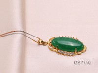22x35mm Green Jade Cabochon Pendant with Zircon