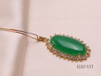 22x36mm Green Jade Cabochon Pendant with Zircon