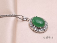 24x28mm Green Jade Cabochon Pendant with Zircon