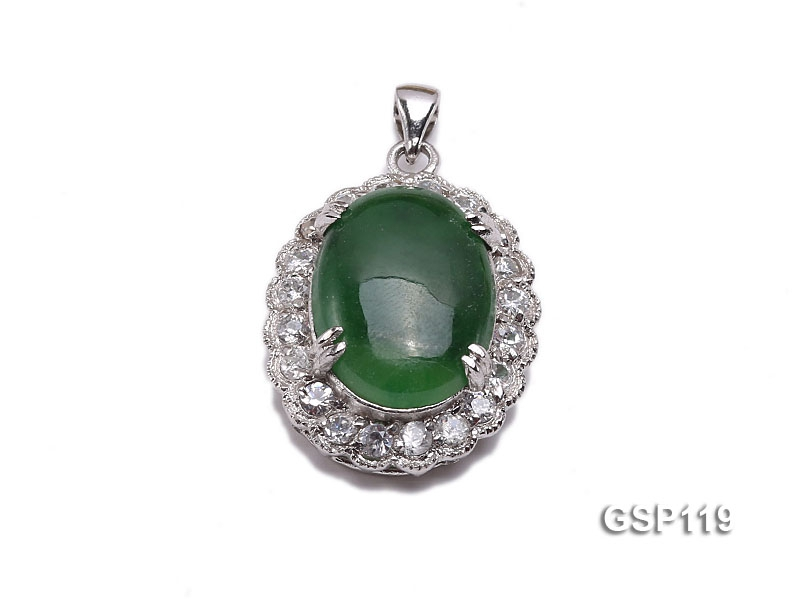 20x25mm Green Jade Cabochon Pendant with Zircon