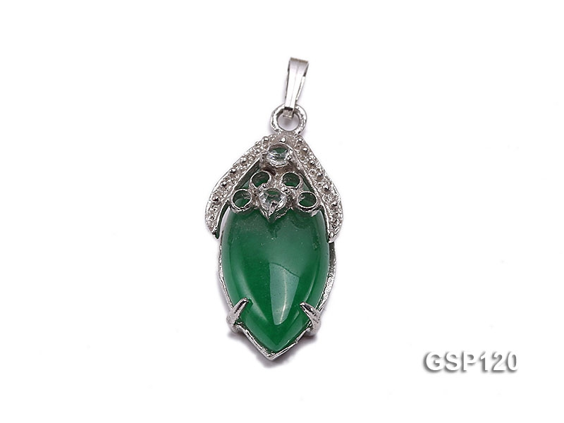 15x30mm Green Jade Cabochon Pendant with Zircon