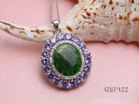 36x40mm Green Jade Cabochon Pendant with Zircon