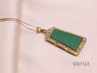 22x38mm Green Jade Cabochon Pendant with Zircon