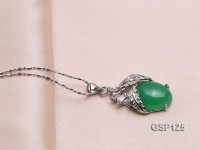 15x24mm Green Jade Cabochon Pendant with Zircon