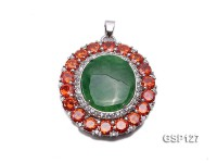 37x40mm Green Jade Cabochon Pendant with Zircon