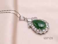 22x34mm Green Jade Cabochon Pendant with Zircon