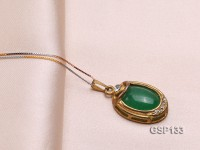 17x24mm Chrysoprase Pendant with Zircons