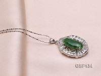 20x27mm Chrysoprase Pendant with Zircons