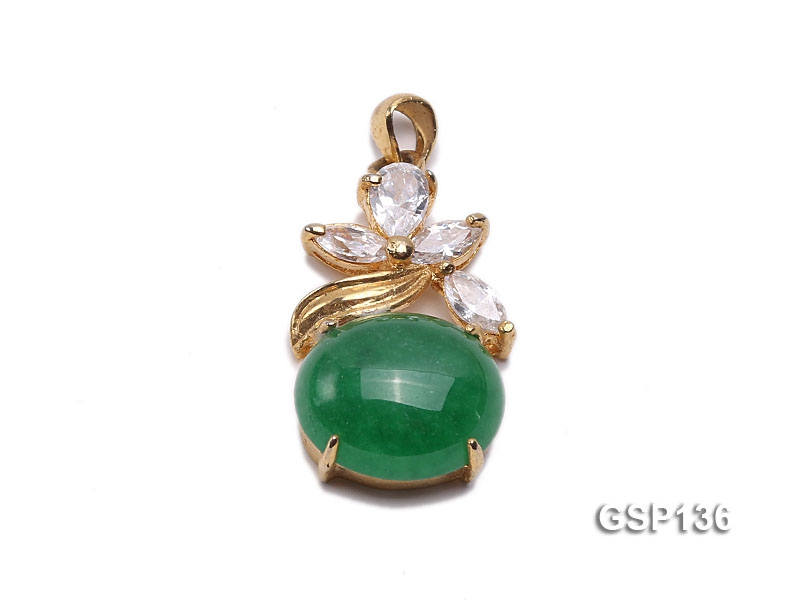 14x23mm Chrysoprase Pendant with Zircons